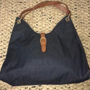 Talbots Blue Hobo Shoulder Bag Brown Buckle